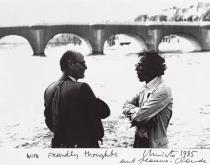 "Herbert Zapp (left) and Christo in front of ""The Pont Neuf Wrapped"", Paris 1985, Photo signed by Christo and Jeanne-Claude"