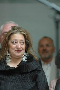"Zaha Hadid at the opening of ""25"", the anniversary exhibition of the Deutsche Bank Collection at the Deutsche Guggenheim, Photo Mathias Schormann"