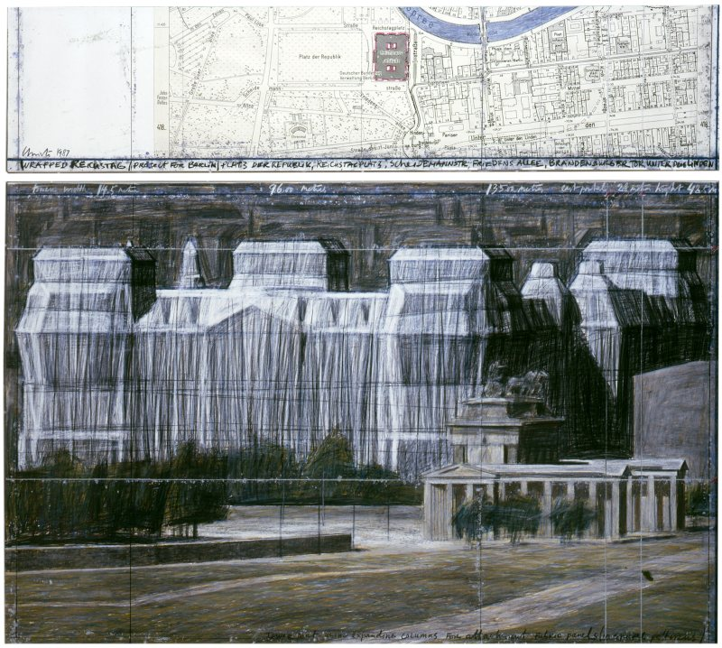 Christo, Wrapped Reichstag (Project for Berlin), drawing in two parts, 1987. Photo: Eeva-Inkeri. © Christo