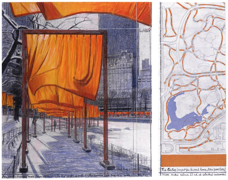 Christo, The Gates (Project for Central Park, New York City), collage in two parts, 2004. Photo: Argenis Apolinario Photography. © Christo, Wolfgang Volz