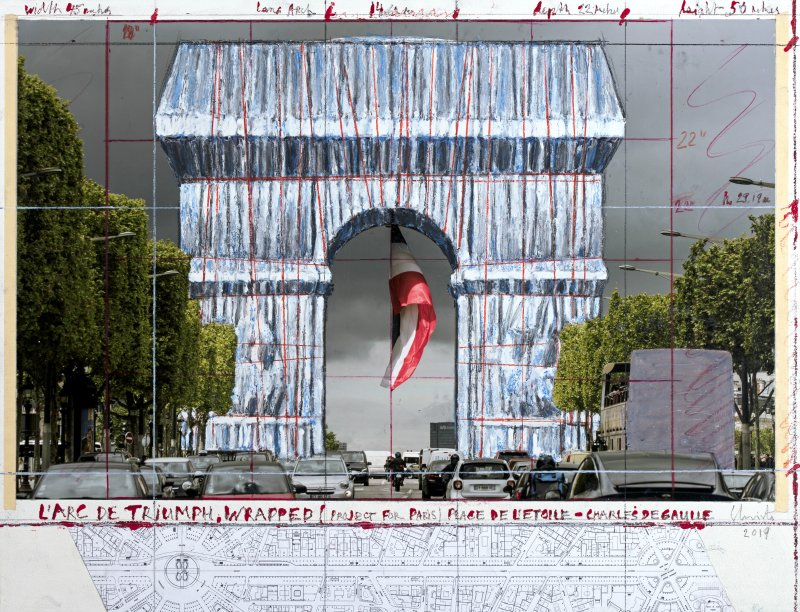 Christo, Arc de Triomphe, Wrapped (Project for Paris) Place de l'Etoile – Charles de Gaulle, collage, 2019. Photo: © Christo